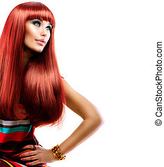 mode, schoenheit, gesunde, gerade, langer, hair., modell, m�dchen, rotes