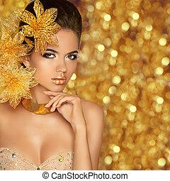 mode, schoenheit, m�dchen, porträt, freigestellt, auf, goldenes, weihnachten, glitte