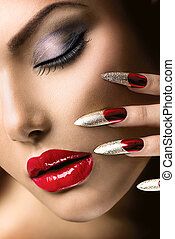 mode, schoenheit, modell, girl., nagelkosmetik, und, make-up