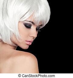 mode, schoenheit, porträt, woman., weißes, kurz, hair., freigestellt, auf, schwarz, hintergrund., schöne , m�dchen, gesicht, close-up., haircut., hairstyle., fringe., make-up., mode, style.