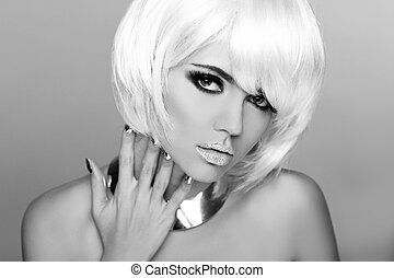 mode, schoenheit, porträt, woman., weißes, kurz, hair., schwarz weiß, photo., blond, frau, close-up., mode, style.