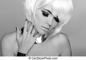 mode, schoenheit, porträt, woman., weißes, kurz, hair., schwarz weiß, photo., frau, close-up., mode, style.