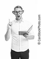 mode, school., nous, portrait, training., education, fonctionnement, concept., apprécier, man., it., barbu, bon, business, book., dos, jour, homme, did, businessman., rouges, mâle, fashion., lunettes