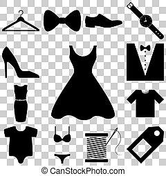 mode, set., illustration, vecteur, signes, robe