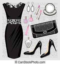mode, set, met, een, jurkje