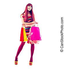 mode, shoppen , meisje, vol lengte portret