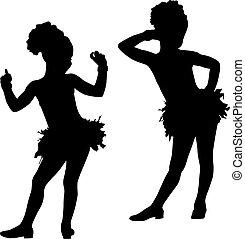 mode, silhouette, enfants