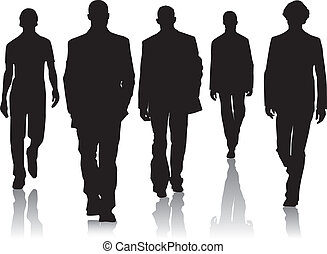 mode, silhouette, hommes