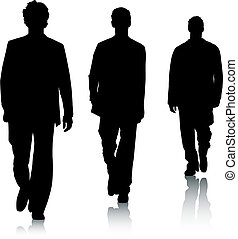 mode, silhouette, maenner
