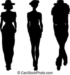 mode, silhouette, modellen, bovenzijde, meiden, vector