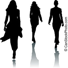 mode, silhouette, vrouwen