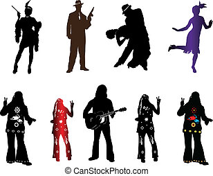 mode, silhouetten, retro, eins