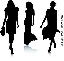 mode, silhuet, kvinder
