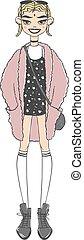 mode, silhuett, abstrakt, flickor, isolerat, vektor