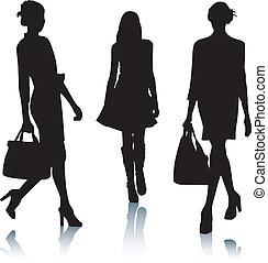 mode, silhuett, kvinnor