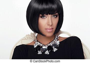 mode, skönhet, kvinna, portrait., stilig, hårklippning, och, makeup., hairstyle., göra, uppe., mod, style., sexig, glamour, girl., jewelry.