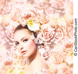 mode, skönhet, modell, flicka, med, blomningen, hair., brud