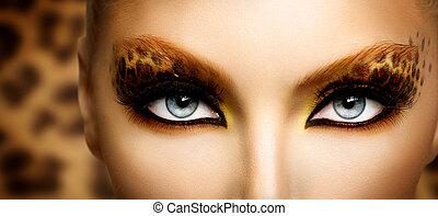 mode, skönhet, smink, leopard, modell, helgdag, flicka