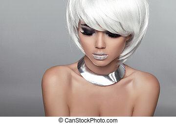 mode, skönhet, stående, woman., vit, kort, hair., vacker,...