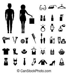 mode, skønhed, folk, unge, samling, silhuetter