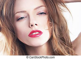 mode, skønhed, glatt, -, zeseed, kønne, model, pige