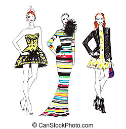 mode, skiss, av, tre, vackra kvinnor