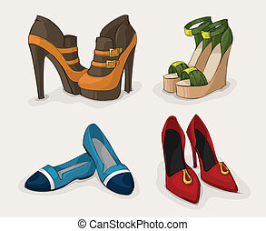 mode, skor, kollektion, kvinnor