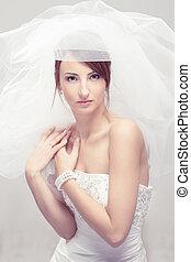 mode, skott., se, brud, portrait., kamera., bröllop, vit, slöja