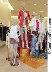 mode, skyltdocka, in, butiksfönster