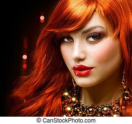 mode, smycken, haired, portrait., flicka, röd