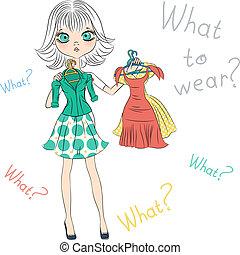 mode, sommet, vecteur, surpris, modèle, essayer, girl, robes