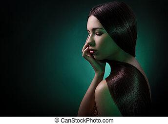 mode, stående, av, a, brunett, woman., hälsosam, långt hår