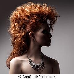 mode, stående, av, lyxvara, kvinna, med, jewelry.