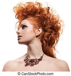 mode, stående, av, lyxvara, kvinna, med, smycken, isolerat