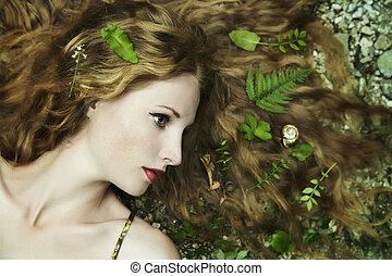 mode, stående, av, ung, sensuell, kvinna, in, trädgård