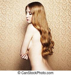 mode, stående, naken, elegant, kvinna, med, a, redhead, hår