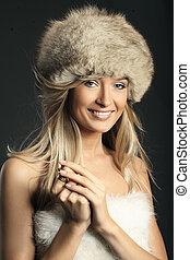 mode, stijl, foto, van, een, jonge, blonde