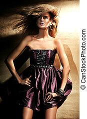 mode, stijl, foto, van, een, jonge dame