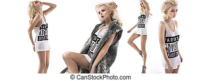 mode, stijl, veelvoudig, foto, van, een, meisje