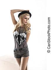 mode, stil, foto, av, söt, blondin, kvinna