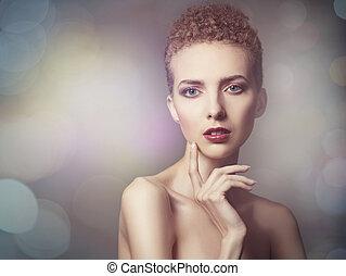 mode, stil, weibliche , porträt, mit, schoenheit, bokeh