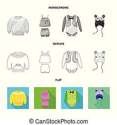 mode, stock., gewand, gegenstand, freigestellt, sammlung, vektor, watte, logo., ikone
