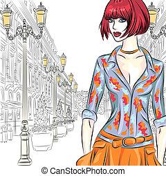 mode, straat., vector, aantrekkelijk, gaat, meisje, petersburg