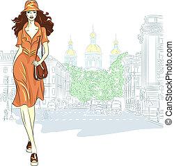 mode, straat., vector, petersburg, gaat, meisje, mooi en gracieus