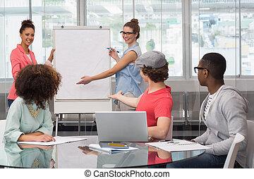 mode, student, geven van een voorstelling