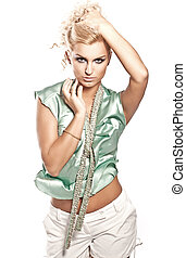 mode, style, photo, de, jeune, blond