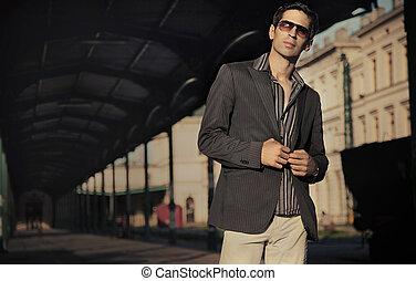 mode, style, photo, de, une, beau, élégant, homme
