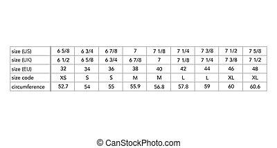 mode, tabelle, produktion, größe, stil, standort, maenner, hut, standard, land, verschieden, maße, cm, männlicher körper