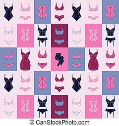 mode, underwear., muster, seamless, damenunterwäsche, weibliche