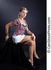 mode, ung kvinde, hos, clutch, bag